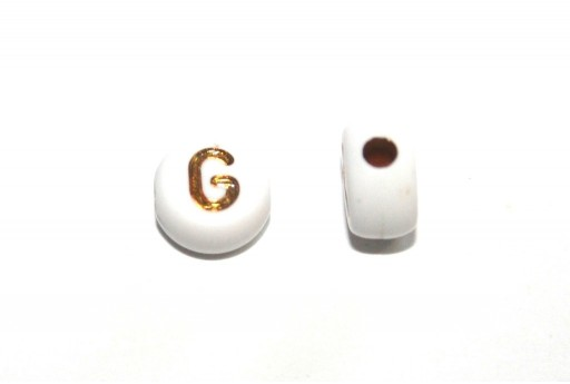 Plating Acrylic Beads - Letter G 7x4mm - 20pcs