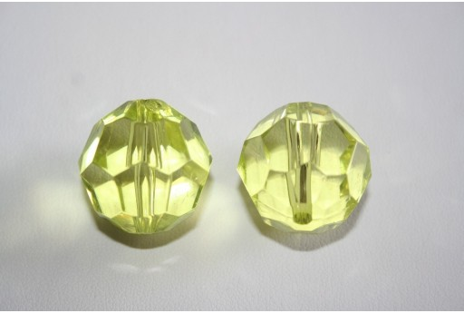 Acrylic Beads Transparent Green Faceted Sphere 24mm - 4Pz