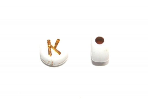 Plating Acrylic Beads - Letter K 7x4mm - 20pcs