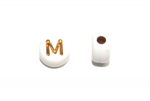 Plating Acrylic Beads - Letter M 7x4mm - 20pcs