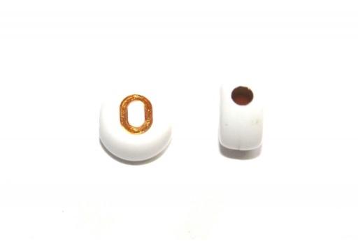 Perline Acrilico Lettera O - Tondo 7x4mm - 20pz