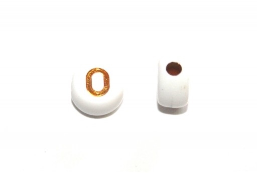 Plating Acrylic Beads - Letter O 7x4mm - 20pcs