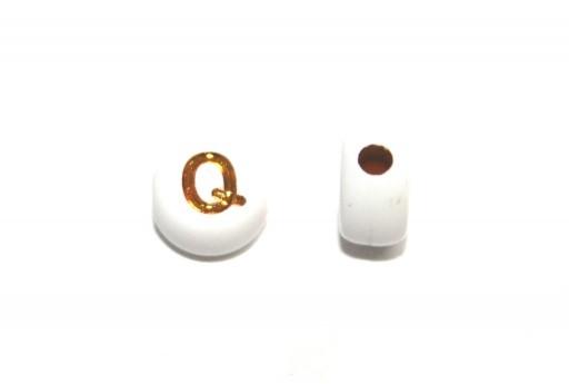 Perline Acrilico Lettera Q - Tondo 7x4mm - 20pz