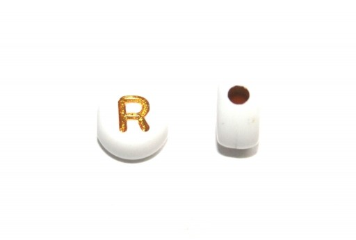 Plating Acrylic Beads - Letter R 7x4mm - 20pcs