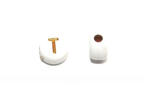 Perline Acrilico Lettera T - Tondo 7x4mm - 20pz