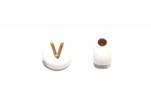 Plating Acrylic Beads - Letter V 7x4mm - 20pcs