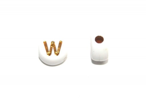 Plating Acrylic Beads - Letter W 7x4mm - 20pcs
