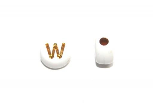 Plating Acrylic Beads - Letter W 7x4mm - 20pcs