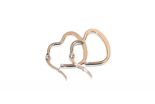 Heart Wire Earring - Platinum 25x20mm - 2pcs