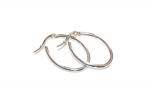 Oval Wire Earring - Platinum 28x20mm - 2pcs