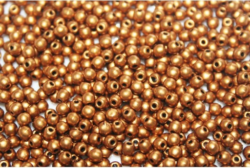 Czech Round Beads - Matte Metallic Antique Gold 2mm - 150pcs