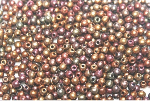 Czech Round Beads - Matte Metallic Bronze Iris 2mm - 150pcs