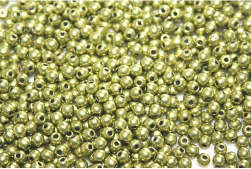 Czech Round Beads - Saturated Metallic Primrose Yellow 2mm - 150pcs