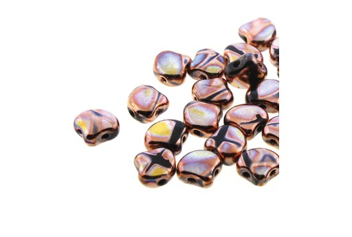 Czech Glass Ginko Beads - Jet Full Capri Gold Batik 7,5mm - 10gr