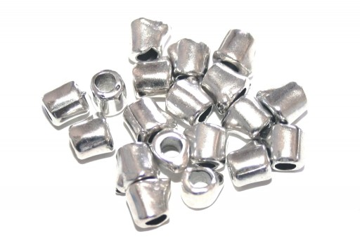 Zamak Bead Irregular Tube - Silver 6x7mm - 5pcs