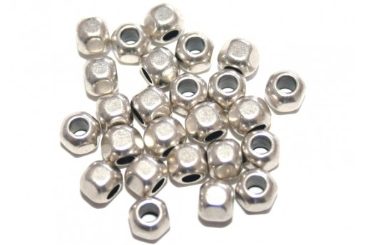Zamak Hexagon Tube - Silver 5x4.7mm - 10pcs