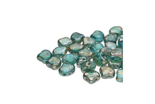 Czech Glass Ginko Beads - Aquamarine Picasso 7,5mm - 10gr
