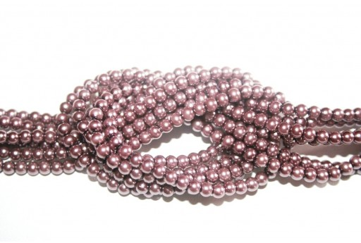 Glass Pearls Strand Plum 6mm - 68pcs