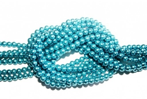 Glass Pearls Strand Turquoise 6mm - 68pcs