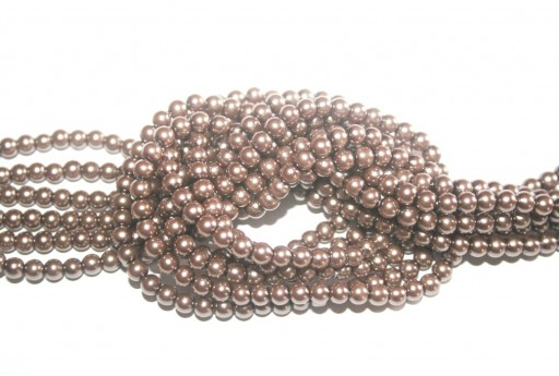 Glass Pearls Strand Light Brown 8mm - 52pcs