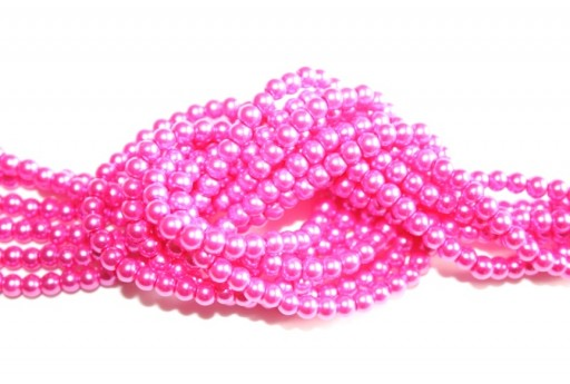 Glass Pearls Strand Candy Pink 8mm - 52pcs