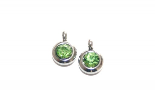 Stainless Steel Charm Pendant - Strass Green 9mm -2pcs
