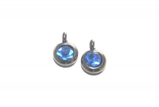 Stainless Steel Charm Pendant - Strass Blue 9mm -2pcs