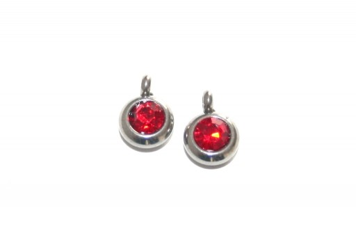 Stainless Steel Charm Pendant - Strass Red 9mm -2pcs
