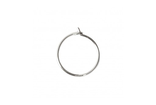 Steel Earring Round - Platinum 30X25x0,8mm - 4pcs
