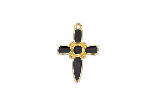 Dagger Cross Motif Pendant Gold - Black 19x28mm