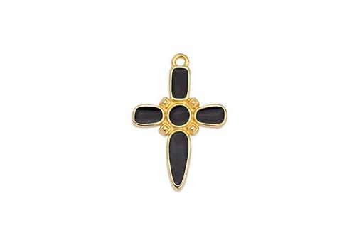 Pendente Croce Oro - Nero 19x28mm