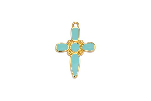 Dagger Cross Motif Pendant Gold - Aqua 19x28mm