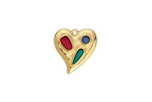 Heart Organic With Shapes Pendant Multicolor Gold 20,4x21,6mm