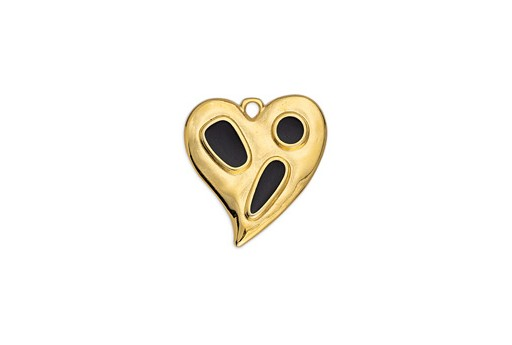 Heart Organic With Shapes Pendant Black Gold 20,4x21,6mm