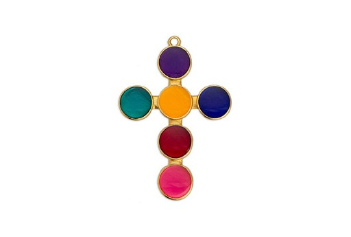 Dagger Cross Motif Pendant Gold - Multicolor 33,7x40,6mm