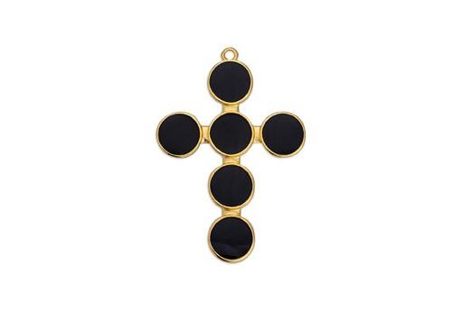 Pendente Croce Oro - Nero 33,7x40,6mm