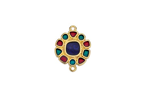 Link Round Gold Multicolor 17,8x23,6mm