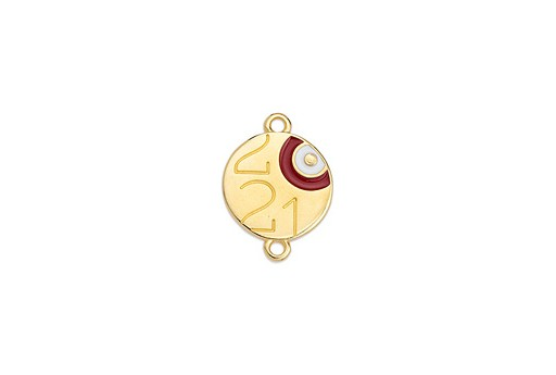 Round Motif 2021 Eye With 2 Rings Gold 14,6x20mm