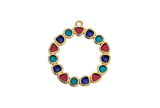 Multicolor Gold Circle Pendant 28mm