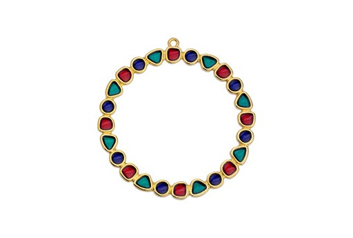 Multicolor Gold Circle Pendant 50mm