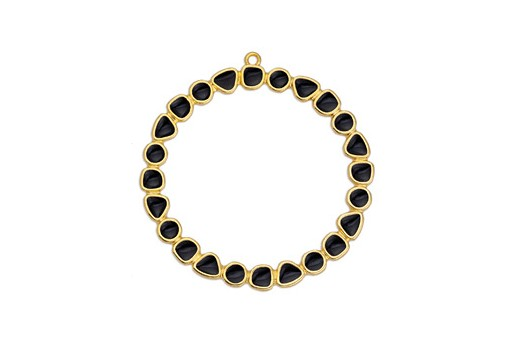 Black Gold Circle Pendant 50mm