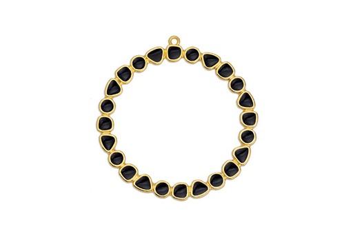 Pendente Cerchio Oro - Nero 50mm