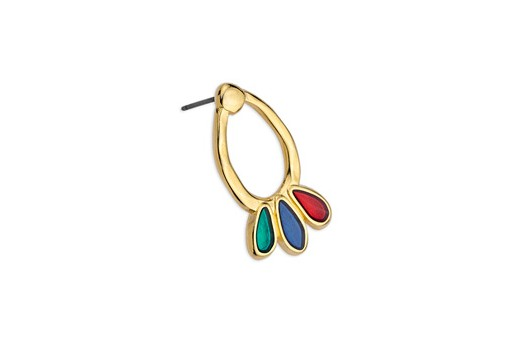 Earring organic with 3 teardrops Gold -Multicolor 15x27mm - 2pcs