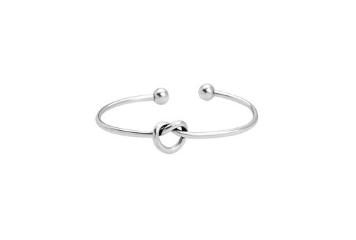 Brass Knot Bracelet - Antique Silver 59mm