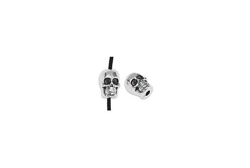 Perlina Metallo Teschio - Argento Anticato 5,5x8,2mm - 3pz