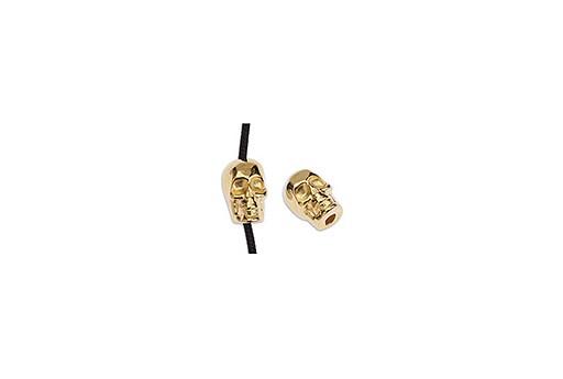 Perlina Metallo Teschio - Oro 5,5x8,2mm - 3pz