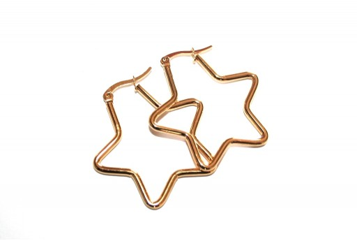 Star Wire Earring - Gold 34,5x34,5mm - 2pcs