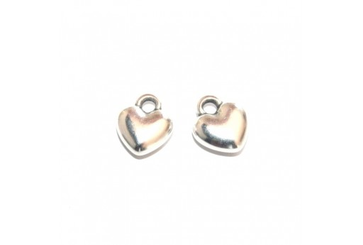 Rounded Heart Pendant - Silver 10,8x12,5mm - 2pcs