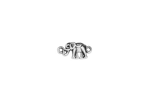 Link Elephant Mini With 2 Eyes - Silver 16,8x8mm - 2pcs