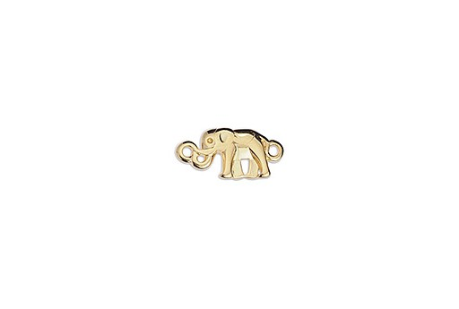 Link Elephant Mini With 2 Eyes - Gold 16,8x8mm - 2pcs